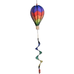 "Chevron Rainbow 12"" Hot Air Balloon Garden Spinner that spins in a gentle breeze."