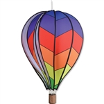 "Chevron Rainbow 26"" Hot Air Balloon Garden Spinner that spins in a gentle breeze."