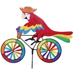 Large Parrot On A Bicycle Garden Spinner with colorful wheels that spin in a gentle breeze. All hardware included.