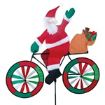 Large Santa On A Bicycle Garden Spinner with colorful wheels that spin in a gentle breeze. All hardware included.