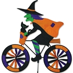 Large Witch On A Bicycle Garden Spinner with colorful wheels that spin in a gentle breeze. All hardware included.