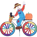 Scarecrow on a Large Bicycle Garden Spinner with wheels that spin in a gentle breeze. All hardware included.