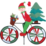 Christmas Elf on a Large Bicycle Garden Spinner with wheels that spin in a gentle breeze. All hardware included.