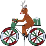 Christmas Reindeer on a Large Bicycle Garden Spinner with wheels that spin in a gentle breeze. All hardware included.