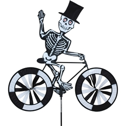 Halloween Skeleton on a Large Bicycle Garden Spinner with wheels that spin in a gentle breeze. All hardware included.