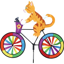 Kitty On A Large Bicycle Garden Spinner with wheels that spin in a gentle breeze. All hardware included.