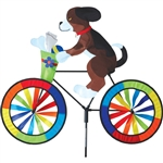 Puppy on a Large Bicycle Garden Spinner with wheels that spin in a gentle breeze. All hardware included.
