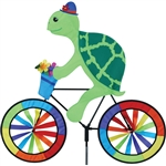 Turtle On A Large Bicycle Garden Spinner with wheels that spin in a gentle breeze. All hardware included.