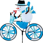 Snowman On A Large Bicycle Garden Spinner with wheels that spin in a gentle breeze. All hardware included.