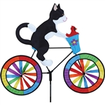 Tuxedo Cat On A Large Bicycle Garden Spinner with wheels that spin in a gentle breeze. All hardware included.