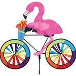 Flamingo On A Large Bicycle Garden Spinner with wheels that spin in a gentle breeze. All hardware included.