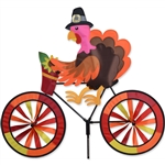 Thanksgiving Turkey On A Large Bicycle Garden Spinner with wheels that spin in a gentle breeze. All hardware included.