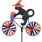 Halloween Cat on a Small Bicycle Garden Spinner with wheels that spin in a gentle breeze. All hardware included.