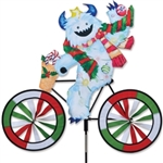 Large Yeti On A Bicycle Garden Spinner with colorful wheels that spin in a gentle breeze. All hardware included.