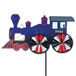 Blue Steam Engine Garden Spinner with wheels that spin in a gentle breeze. All hardware included.