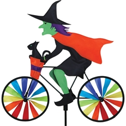 Halloween Witch On A Small Bicycle Garden Spinner with wheels that spin in a gentle breeze. All hardware included.