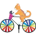 Orange Tabby Kitty on a Small Bicycle Garden Spinner with wheels that spin in a gentle breeze. All hardware included.