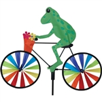 Tree Frog On A Small Bicycle Garden Spinner with wheels that spin in a gentle breeze. All hardware included.