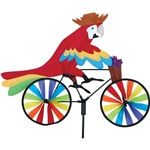 Parrot on a Small Bicycle Garden Spinner with wheels that spin in a gentle breeze. All hardware included.