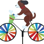 Puppy On A Small Bicycle Garden Spinner with wheels that spin in a gentle breeze. All hardware included.