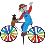 Scarecrow On A Small Bicycle Garden Spinner with wheels that spin in a gentle breeze. All hardware included.