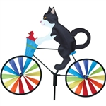 Tuxedo Cat On A Small Bicycle Garden Spinner with wheels that spin in a gentle breeze. All hardware included.