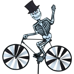 Halloween Skeleton On A Small Bicycle Garden Spinner with wheels that spin in a gentle breeze. All hardware included.