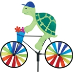 Turtle On A Small Bicycle Garden Spinner with wheels that spin in a gentle breeze. All hardware included.