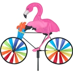 Flamingo On A Small Bicycle Garden Spinner with wheels that spin in a gentle breeze. All hardware included.
