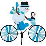 Snowman On A Small Bicycle Garden Spinner with wheels that spin in a gentle breeze. All hardware included.