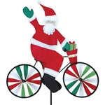 Santa On A Small Bicycle Garden Spinner with wheels that spin in a gentle breeze. All hardware included.