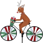 Christmas Reindeer On A Small Bicycle Garden Spinner with wheels that spin in a gentle breeze. All hardware included.