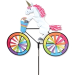 Fantasy Unicorn On A Small Bicycle Garden Spinner with wheels that spin in a gentle breeze. All hardware included.