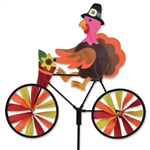 Thanksgiving Turkey On A Small Bicycle Garden Spinner with wheels that spin in a gentle breeze. All hardware included.