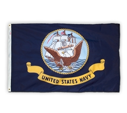 3 feet x 5 feet with grommets Navy Flag by Valley Forge. Made in the USA.