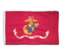 3 feet by 5 feet Marine Corps Flag by Valley Forge with grommets. Made in the USA.