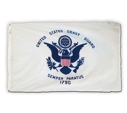 3 feet by 5 feet Coast Guard Flag by Valley Forge with grommets. Made in the USA.