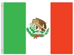 3 feet by 5 feet Mexico Flag with grommets by Valley Forge. Made in the USA.