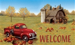 Fall Barn Truck Floor Mat by Custom Decor. Printed in the USA.