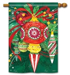 Colorful Christmas Ornaments with a green background on this Breeze Art house flag.