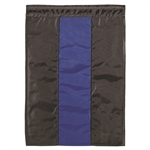 Thin Blue Line Applique House Flag with two black strips and a blue strip in the center.