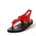 Topsies Red stretch sandal flip flops with Twisted Rose ornament
