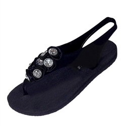 Topsies Black stretch sandal flip flops with Jeweled Rhinestone Bee ornament