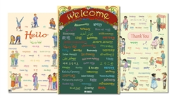 Hello Thank You Welcome in Different Languages- Multilingual Multicultural Poster