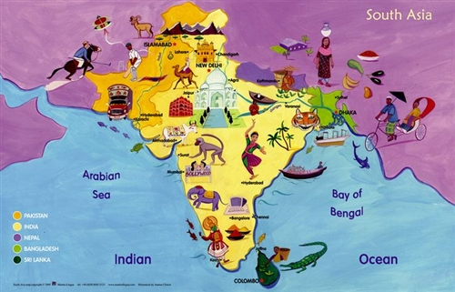 Map of South Asia, World Maps