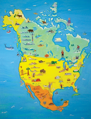 Map of North America and Canada-ENGLISH ONLY Edition, Multicultural Poster