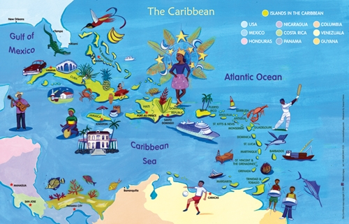 Map of The Caribbean, World Maps