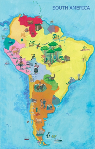Map of South America-ENGLISH ONLY Edition, Multicultural Poster