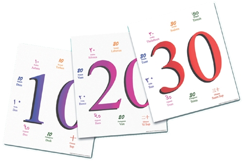 Number Cards 10-100-Multilingual Edition