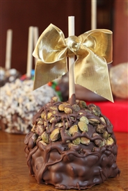 Pistachio Covered Caramel-Chocolate Apple